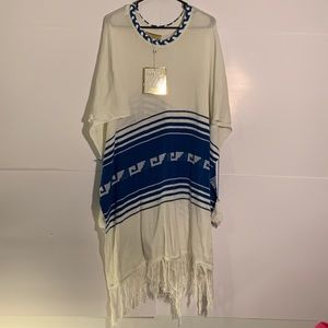 Wildfox Couture Poncho Blue and White